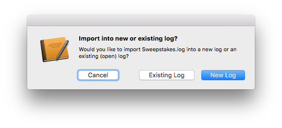Import into new or existing log prompt