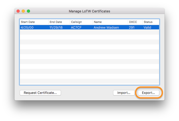 Aether Manage Certificates Import Button