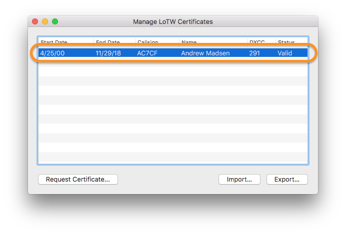 Aether Manage Certificates Select Certificate
